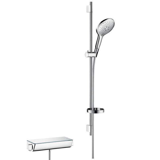 batéria sprch nást termo ECOSTAT Select + set sprch Raindance Select S 150 3jet 0,9 m biela/chróm a mydelničkou