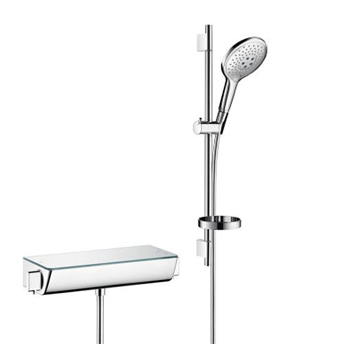 batéria sprch nást termostat Ecostat Select + set sprch Raindance Select S 150 3jet 0,65 m biela/chróm a mydelničkou