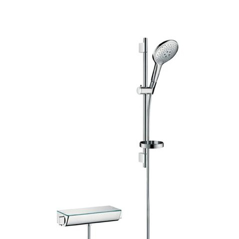 batéria sprch nást termostat Ecostat Select + set sprch Raindance Select S 150 3jet 0,65 m chróm a mydelničkou