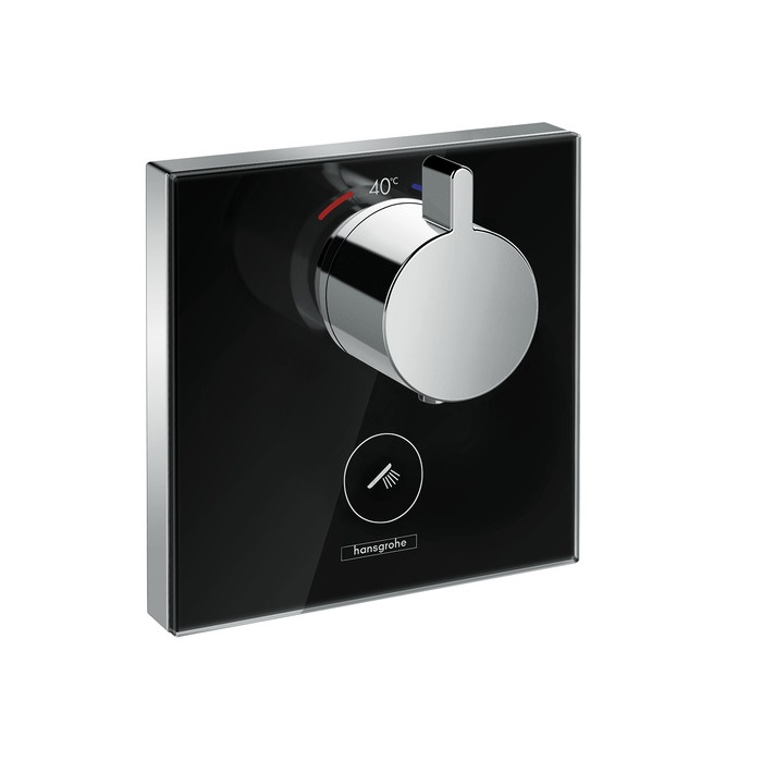 batéria sprch podom termostat ShowerSelect Glass Highflow pre 1 spotrebič a ďalší výtok čierna/chróm