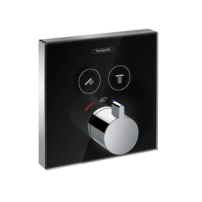 batéria vaň podom termostat ShowerSelect Glass pre 2 odberné miesta čierna/chróm (na ibox)