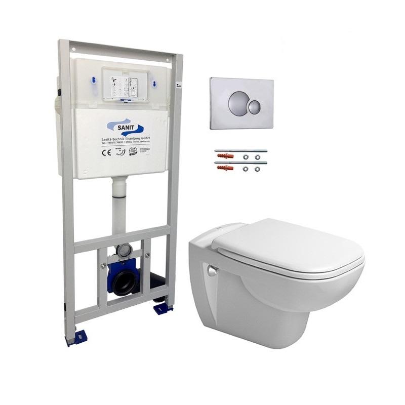 DURAVIT D-code SET 5v1 misa WC+ sedátko + nádrž + tlačítko chróm + kotvenie do zadu