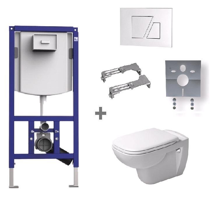 DURAVIT D-CODE SET WC 6v1 326552 s WC misou 25350900002 a bielym tlačítkom