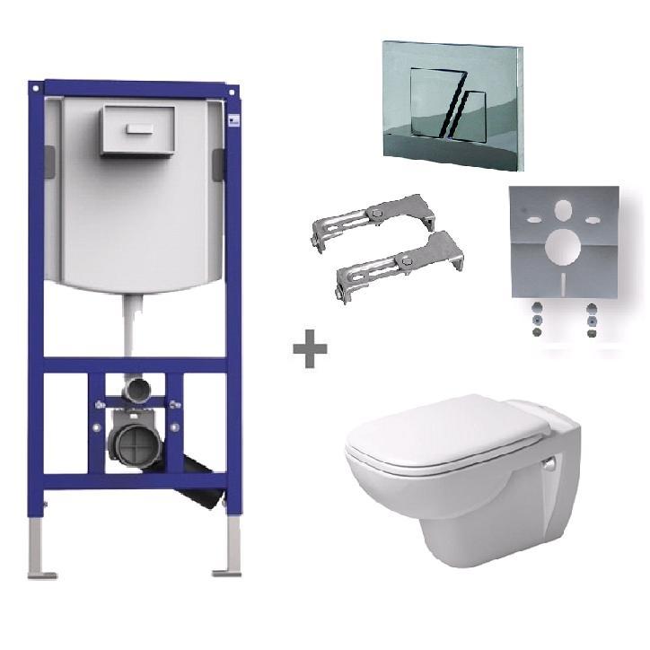 DURAVIT D-CODE SET WC 6v1 326553 s WC misou 25350900002 a chrómovým tlačítkom