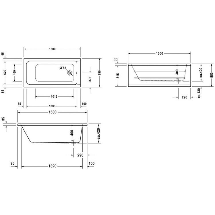 DURAVIT D-Code vaňa 150 x 75 biela,odpad pri nohách, bez nôh, 700095000000000