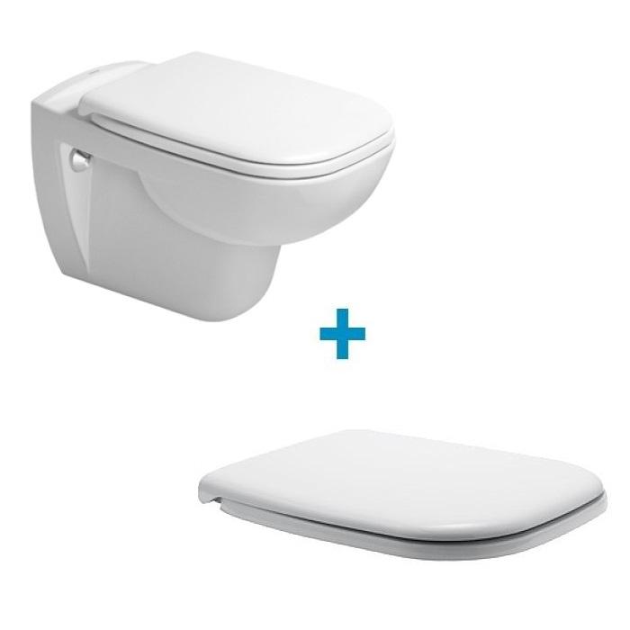 DURAVIT D-CODE závesná WC misa Rimless s WC sedátkom SoftClose 45700900A1