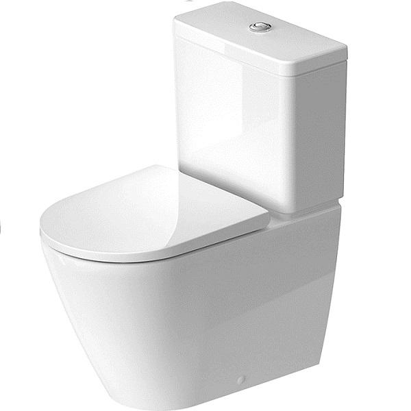 Duravit D-NEO misa WC kombi 37 x 65 cm, Rimless, odpad VARIO, bez nádržky, bez sedátka, biela s glazúrou Hygiene Glaze 2002092000