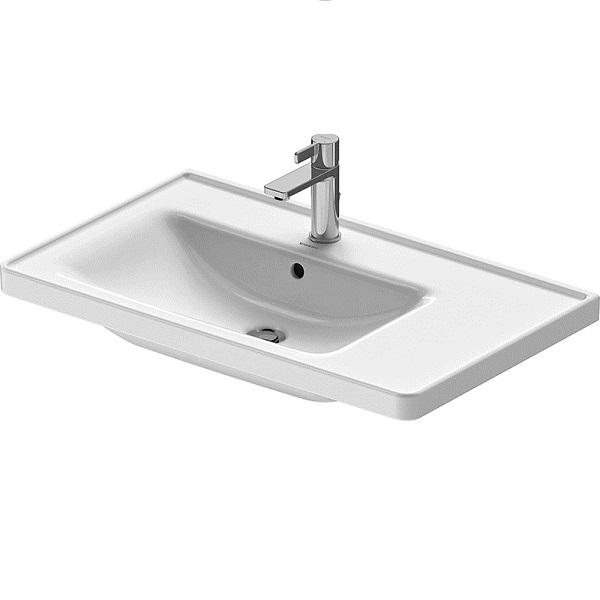 Duravit D-NEO nábytkové umývadlo 80 x 48 cm asymetrické s um. vaničkou vľavo, s prepadom, biele s WG 23698000001