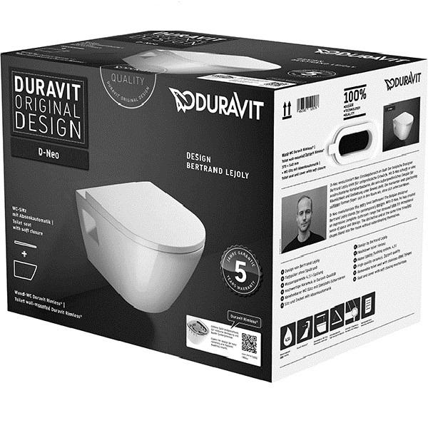 Duravit D-NEO set 2v1, závesná WC misa 37 x 54 cm, Rimless, biela ( 2578090000) + WC sedátko SoftClose ( 0021690000), kód setu 45780900A1