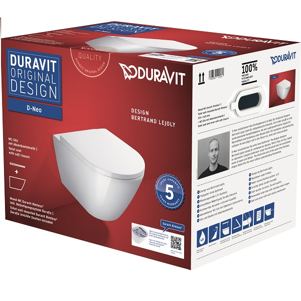 Duravit D-NEO set 2v1 závesná WC misa 37 x 54 cm, Rimless, skryté upevnenie Durafix, biela ( 2577090000) + WC sedátko SoftClose ( 0021690000), kód setu 45770900A1