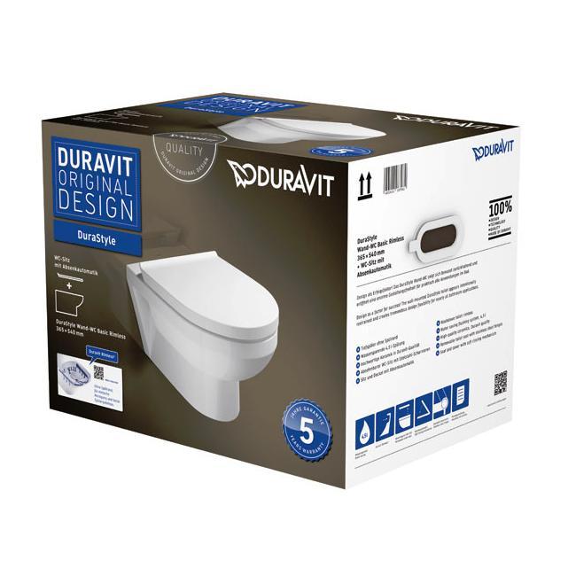 DURAVIT Dura Style Basic set misa WC závesná Rimless so sedátkom softclose biela 45620900A1