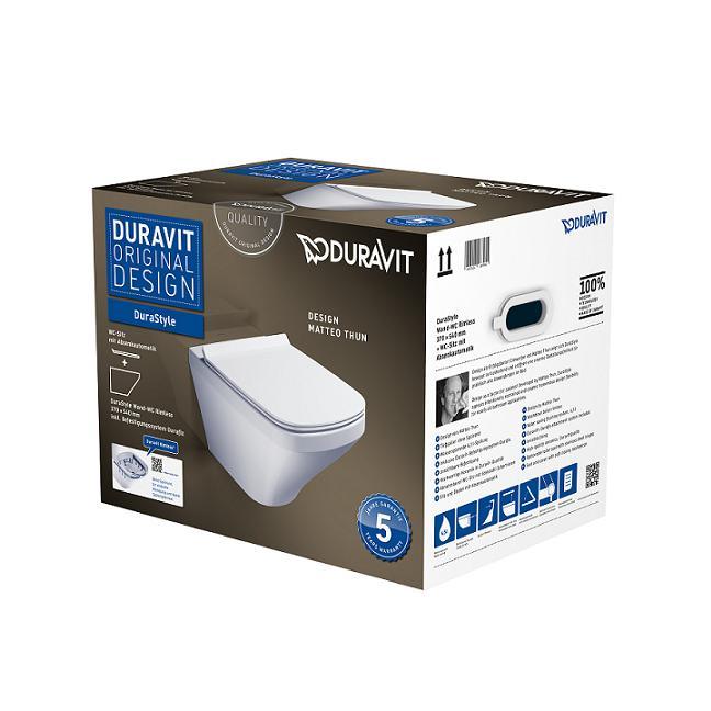 DURAVIT Dura Style WC misa Rimless závesná so sedátkom 45510900A1
