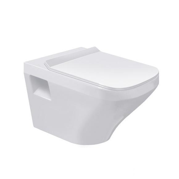 DURAVIT Dura Style závesná WC misa 37 x 54 cm Rimless, biela s úpravou Wonder Gliss 25380900001