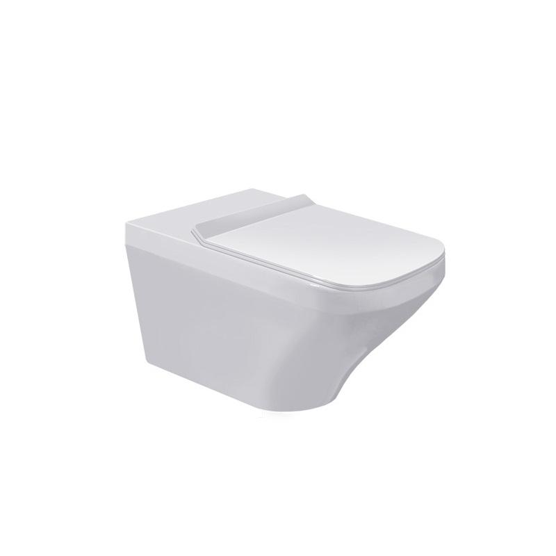 DURAVIT Dura Style závesná WC misa 37 x 62 cm Rimless, upevnenie Durafix, biela s úpravou WonderGliss 25420900001