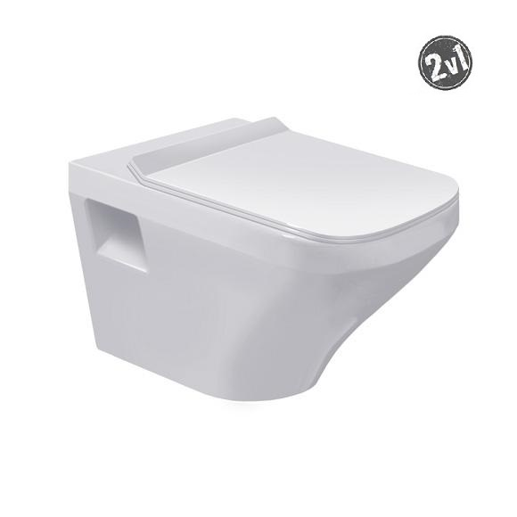 DURAVIT DuraStyle - Závesné WC, sedadlo SoftClose, alpská biela 253609000 a 0063790000