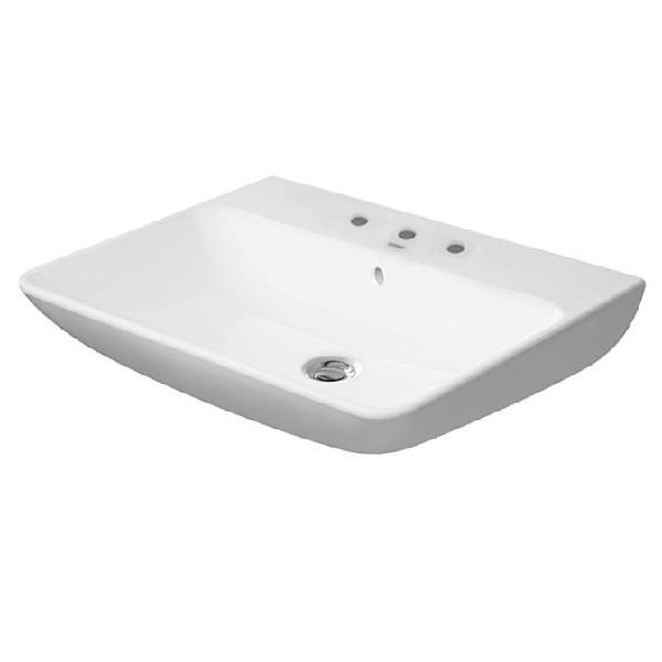 DURAVIT Me By Starck 60 x 46 cm umývadlo s prepadom, 3 otvory pre batériu, biele s úpravou WonderGliss 23356000301