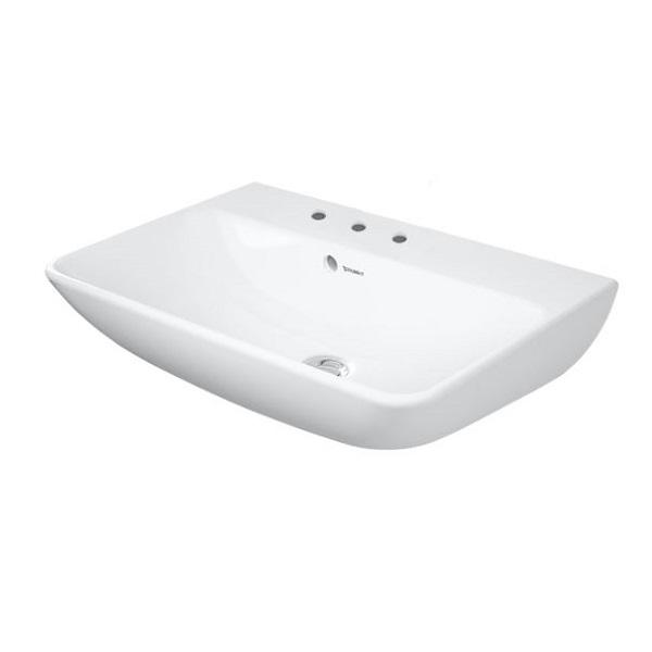 DURAVIT ME by Starck Compact umývadlo 60 x 40 cm s prepadom, 3 otvory pre batériu, biele s úpravou WonderGliss 23436000301