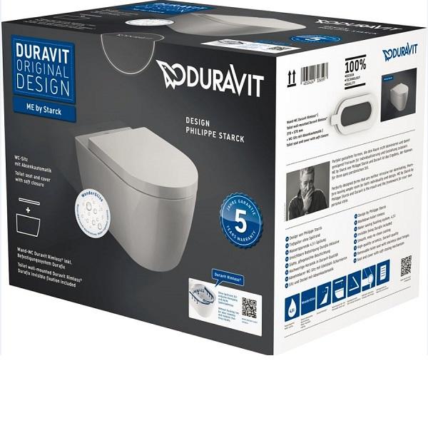 DURAVIT ME by Starck set 2v1 závesná WC misa 37 x 57 cm Rimless s WC sedátkom SoftClose a úpravou WonderGliss 45290900A11