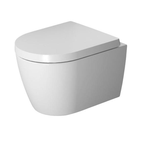 DURAVIT ME by Starck set 2v1 závesná WC misa Compact 37 x 48 cm Rimless s WC sedátkom SoftClose, biela 45300900A1