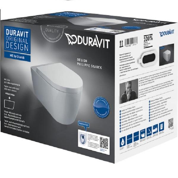 Duravit ME by STARCK set 2v1 závesná WC misa HygieneFlush ( 2579092000) so sedátkom SoftClose, biela Hygiene Glaze 45790900A1