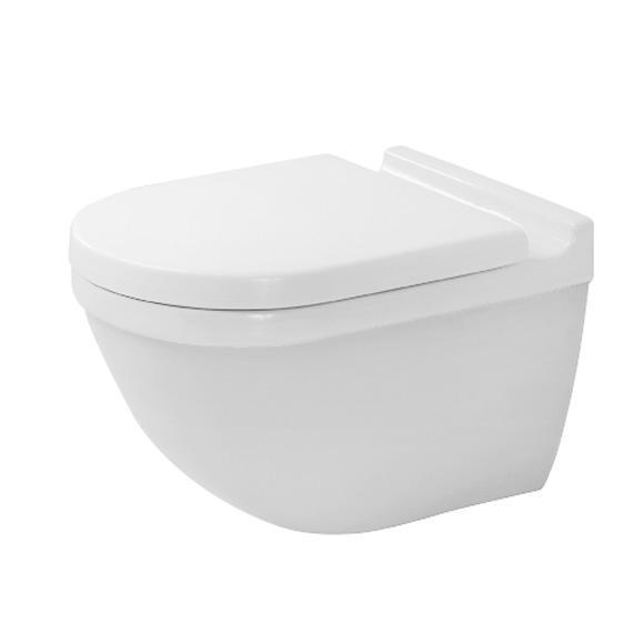 DURAVIT Starck 3 závesná WC misa Rimless so sedátkom SoftClose, upevnenie Durafix, biela 45270900A1