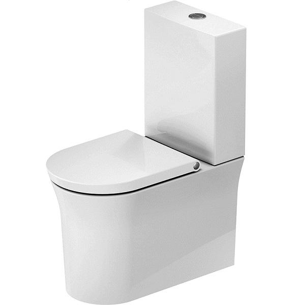 Duravit WHITE TULIP misa WC kombi 37 x 65 cm, Rimless, odpad VARIO, bez nádržky, bez sedátka, biela 2197090000