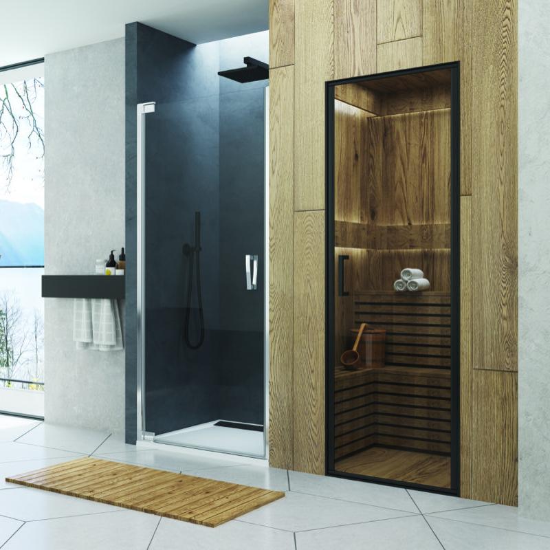 dvere sprch CADURA CA1C 90 1-krídl pánty vpravo aluchróm číre sklo