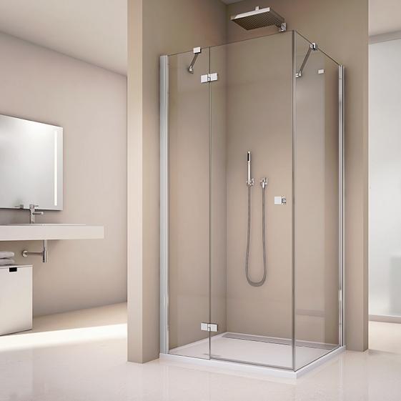 dvere sprchové atyp ANNEA 750 - 1200 x 2000 mm 1-krídlové s pev. stenou v rovinepravé aluchróm číre sklo s AQP