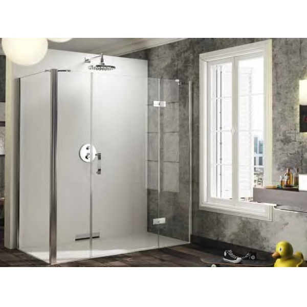 dvere sprchové HÜPPE SOLVA Pure 1300 krídlové s pev segment a protisegmentom pre bočnú stenu upev vpravo str. lesklá číre sklo AP