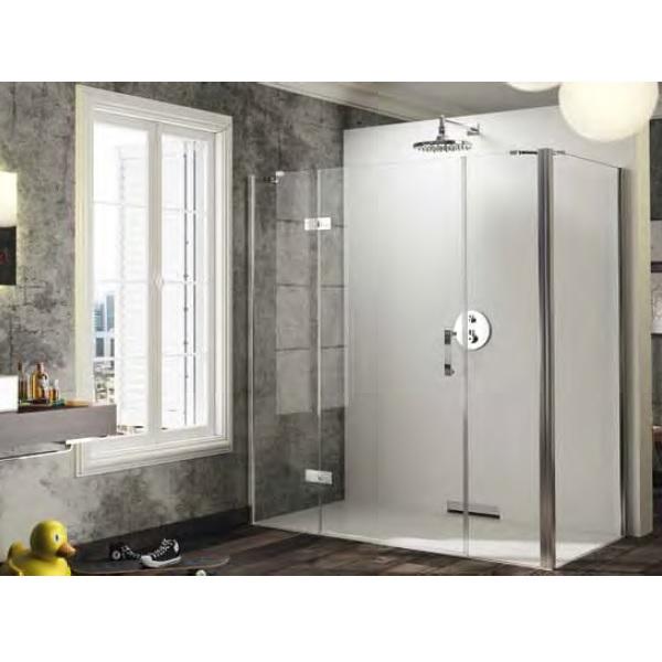 dvere sprchové HÜPPE SOLVA Pure 1400 krídlové s pev segment a protisegmentom pre bočnú stenu upev vľavo str. lesklá číre sklo AP
