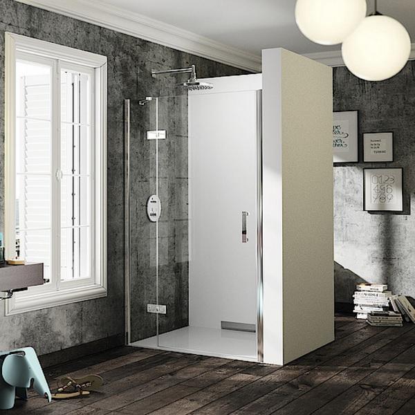 dvere sprchové HÜPPE SOLVA Pure 1400 krídlové s pevným segmentom do niky upev vpravo str. lesklá číre sklo AP
