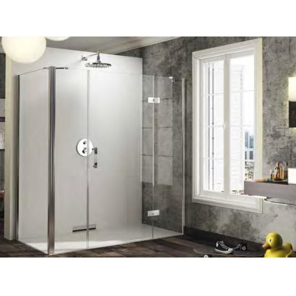 dvere sprchové HÜPPE SOLVA Pure 1500 krídlové s pev segment a protisegmentom pre bočnú stenu upev. vpravo str. lesklá číre sklo AP