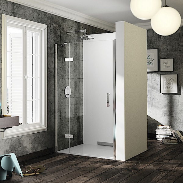 dvere sprchové HÜPPE SOLVA Pure 900 krídlové s pevným segmentom do niky upev vľavo str. lesklá číre sklo AP