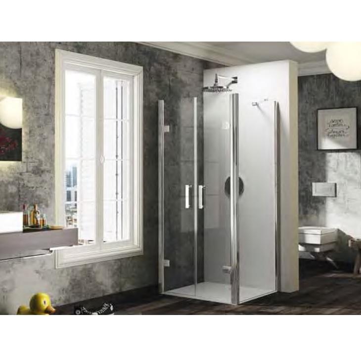 dvere sprchové HÜPPE SOLVA Pure PTS 1100 lietacie pre bočnú stenu s nástennou lištou str. lesklá čríe sklo AP