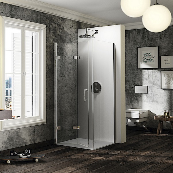 dvere sprchové HÜPPE SOLVA Pure SFT 900 krídlové sklapovacie pre bočnú stenu upev vpravo str. lesklá číre sklo AP