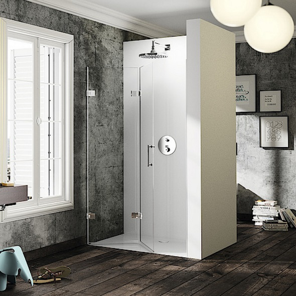 dvere sprchové HÜPPE SOLVA Pure SFTN 1000 krídlové sklapovacie do niky upev vľavo str. lesklá číre sklo AP