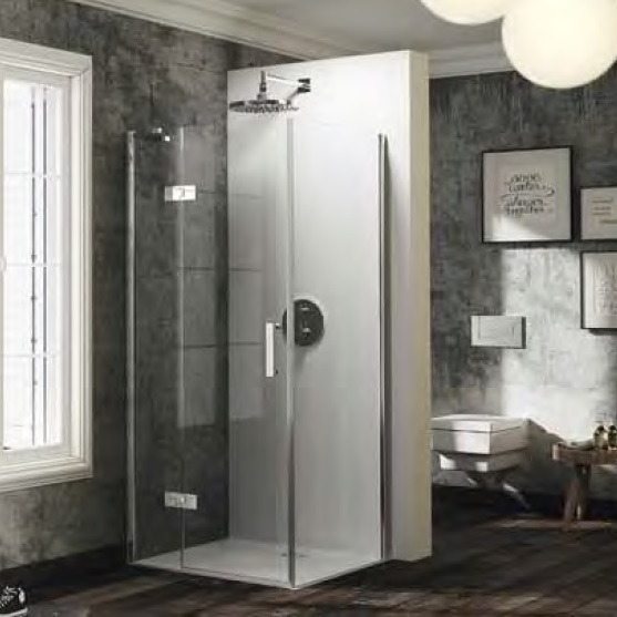 dvere sprchové HÜPPE SOLVA Pure ST 1200 krídlové s pev segmentom pre bočnú stenu upev vpravo str. lesklá číre sklo AP