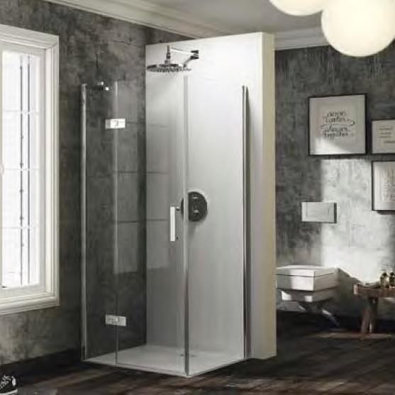 dvere sprchové HÜPPE SOLVA Pure ST 1300 krídlové s pev segmentom pre bočnú stenu upev vpravo str. lesklá číre sklo AP