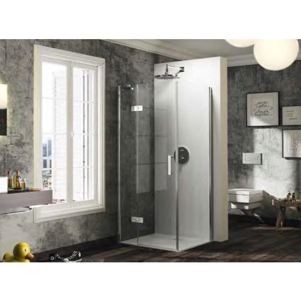 dvere sprchové HÜPPE SOLVA Pure ST 800 krídlové s pev segmentom pre bočnú stenu upev vľavo str. lesklá číre sklo AP