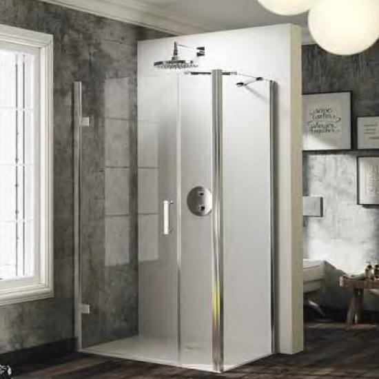 dvere sprchové HÜPPE SOLVA Pure ST 900 krídlové s protisegmentom pre bočnú stenu upev vľavo str. lesklá číre sklo AP