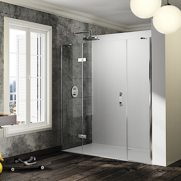 dvere sprchové HÜPPE SOLVA Pure STN 1300 krídlové s pev segmentom a protisegmentom do niky upev vpravo str. lesklá číre sklo AP