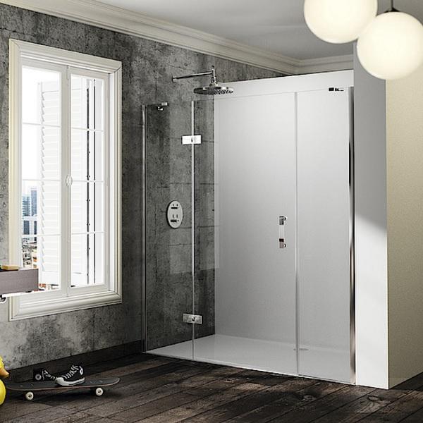 dvere sprchové HÜPPE SOLVA Pure STN 1500 krídlové s pev segmentom a protisegmentom do niky upev vľavo str. lesklá číre sklo AP