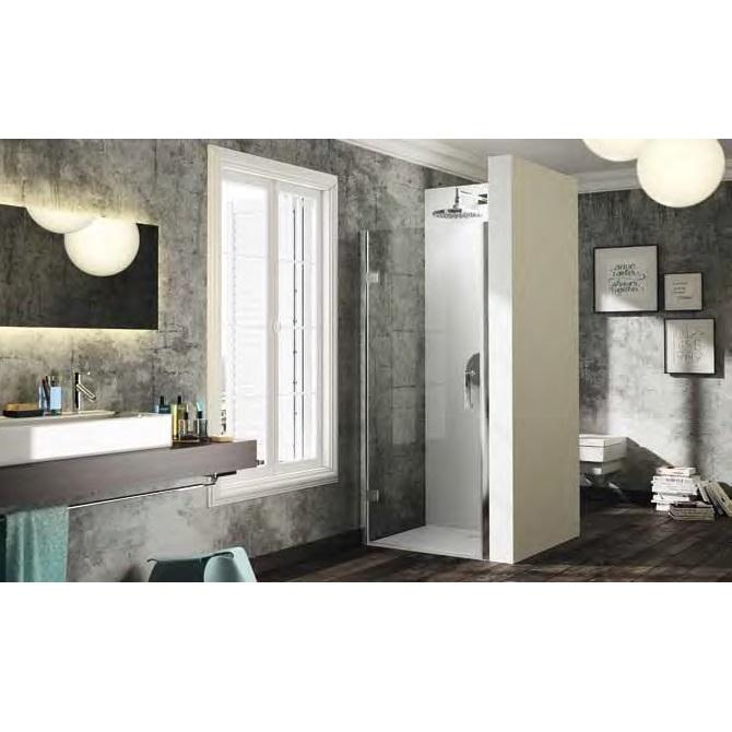 dvere sprchové HÜPPE SOLVA Pure STN 900 krídlové do niky s nást lištou upev vľavo str. lesklá číre sklo AP