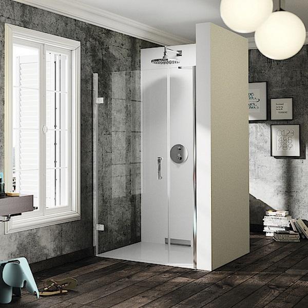 dvere sprchové HÜPPE SOLVA Pure STN 900 krídlové s protisegmentom do niky upev vľavo str. lesklá číre sklo AP