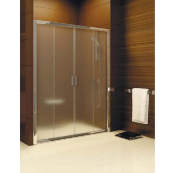 dvere sprchové štvordielne BLIX BLDP4-130 cm posuvné satin+Transparent