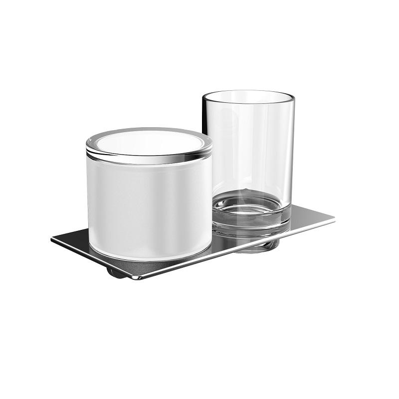 EMCO Art držiak s dávkovačom tekut.mydla 155 ml apohárom  chróm sklo 163100102
