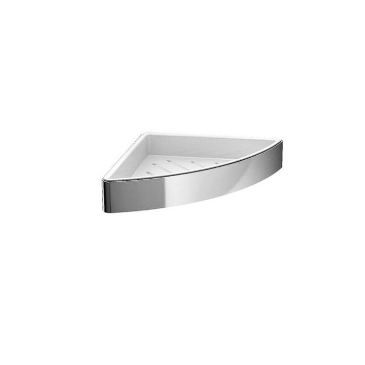 EMCO Loft polička rohová s vyberateľným vnútorným košíkom biela/chróm, 054500103