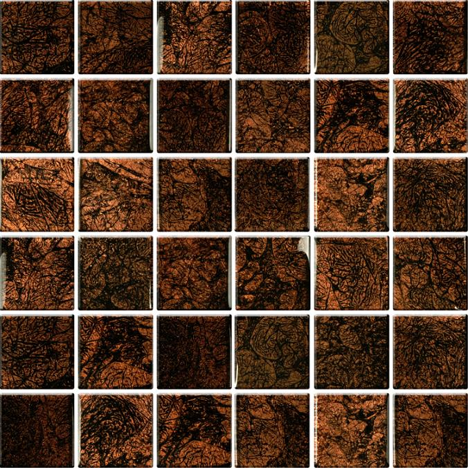 FORMOSA mozaika sklenená 300 x 300 x 8 mm No.27 hnedo gaštanové/číre lesklé sklo AMGL08XX027