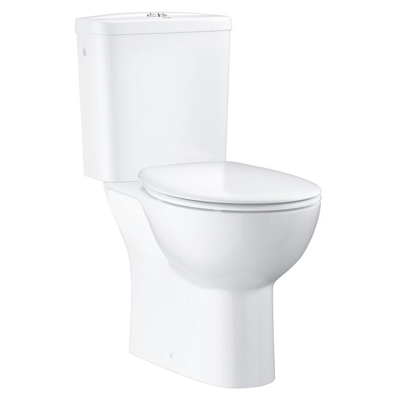 GROHE Bau Ceramic WC kombi Rimless zadný odtok  set 3v1 s nádržkou a sedátkom SoftClose, alpská biela 39496000