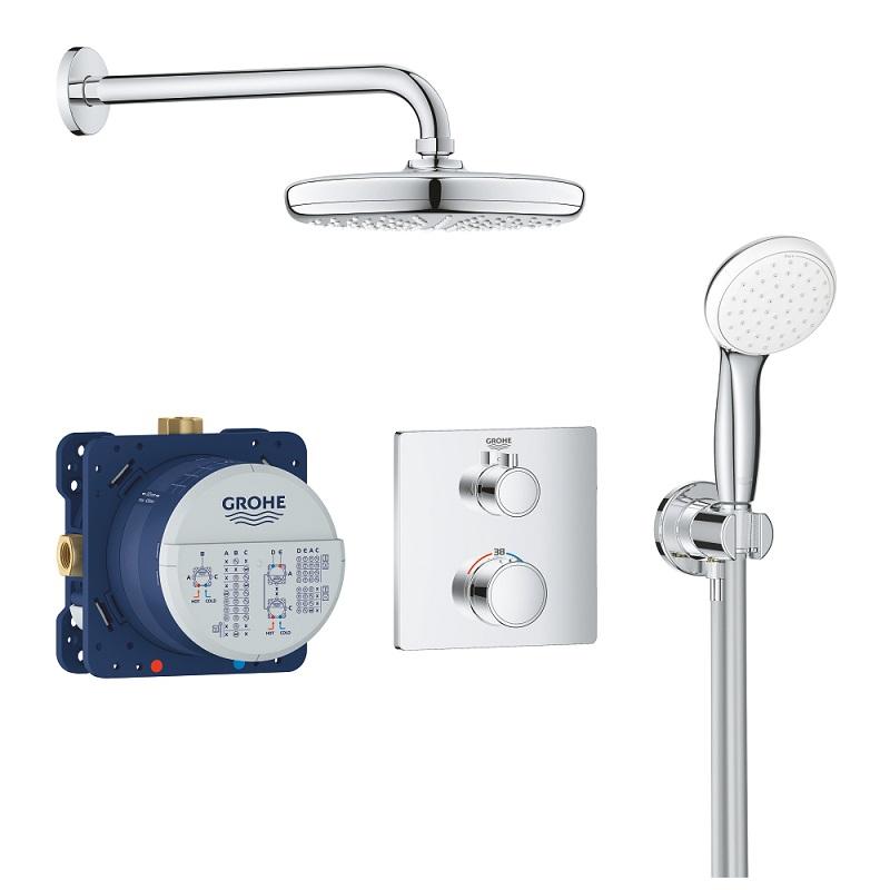 GROHE Grohtherm Perfect sprchový set so sprchou Temptesta 210 a ručnou sprchou chróm 34729000